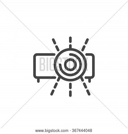 Thin Icon Video Presentation And Office Equipment. Such Line Sign As Isolated Video Projector And Li