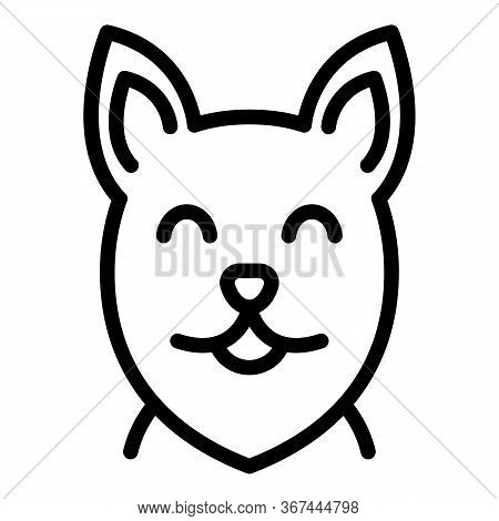 Happy Dog Face Icon. Outline Happy Dog Face Vector Icon For Web Design Isolated On White Background