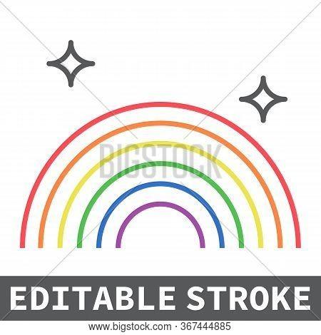 Lgbt Pride Color Line Icon, Lgbt And Pride, Rainbow Sign Vector Graphics, Editable Stroke Linear Ico