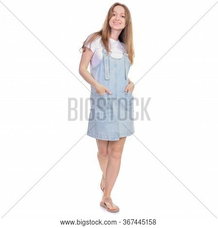 Pregnant Woman In Denim Sundress Goes Walking Looking Smiling On White Background Isolation
