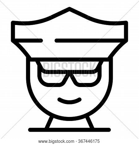 Policeman Avatar Icon. Outline Policeman Avatar Vector Icon For Web Design Isolated On White Backgro