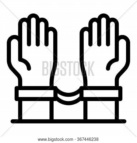 Hands With Handcuffs Icon. Outline Hands With Handcuffs Vector Icon For Web Design Isolated On White