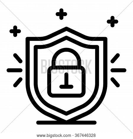 Locked Padlock Shield Icon. Outline Locked Padlock Shield Vector Icon For Web Design Isolated On Whi