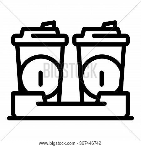 Coffee To Go Cups Icon. Outline Coffee To Go Cups Vector Icon For Web Design Isolated On White Backg