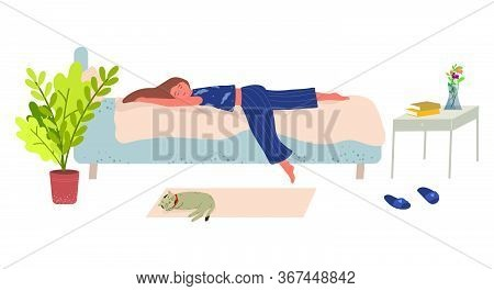 Young Woman Lies On The Bed And Sleeps Vector Illustration In Flat Style. The Concept Of Depression,