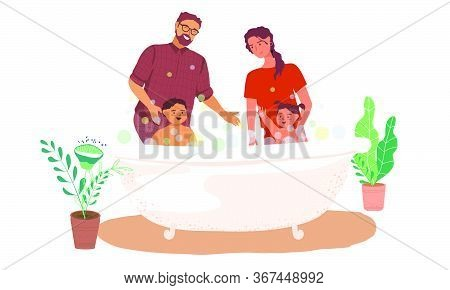 Together Bathing Boy And Girl In The Bathroom Vector Illustration In Flat Style. Parents Bathe Littl