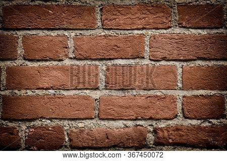 Dark Red Brick Wall Texture Background With Vignetted Corners For Design. Pattern Of Weathered Old C