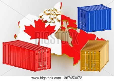 3d Map Of Canada. Freight Shipping In Containers. Export From The Country In Containers. 3d Renderin