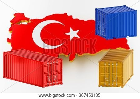 3d Map Of Turkey. Freight Shipping In Containers. Export From The Country In Containers. 3d Renderin