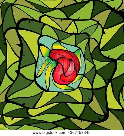 Green Color Background Image Of The Abstract Red Rose