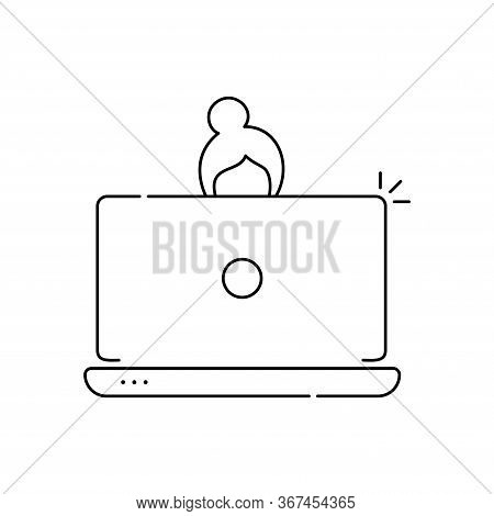 Business Woman Online Lady Entrepreneur Vector Icon Working On A Laptop Computer. Flat Style Modern