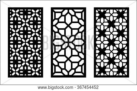 Laser Pattern. Set Of Decorative Vector Panels For Laser Cutting. Template Pattern For Interior Part