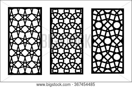 Cnc Decorative Laser Pattern. Set Of Decorative Vector Panels For Laser Cutting. Cnc Pattern For Int