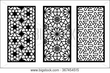Laser Arabesque Pattern. Set Of Decorative Vector Panels For Laser Cutting. Template For Interior Pa