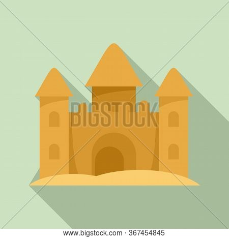 Castle Made Of Sand Icon. Flat Illustration Of Castle Made Of Sand Vector Icon For Web Design