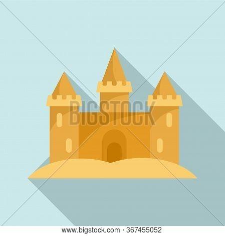 Miniature Sand Castle Icon. Flat Illustration Of Miniature Sand Castle Vector Icon For Web Design