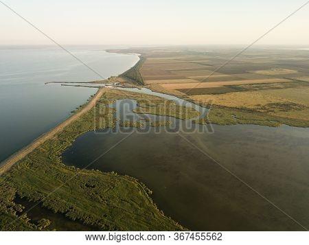 Aerial View Of Tuzly Estuary National Nature Park Near By Black Sea Coast, Tatarbunary Region, Bessa