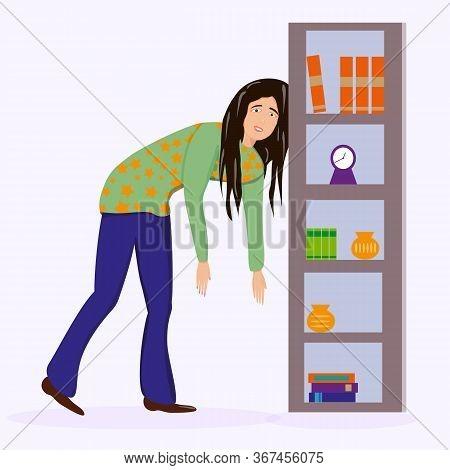 Flat Vector Character Illustration. Tired Woman, Sleepy Mood, Weak Health, Mental Exhausted, Vector