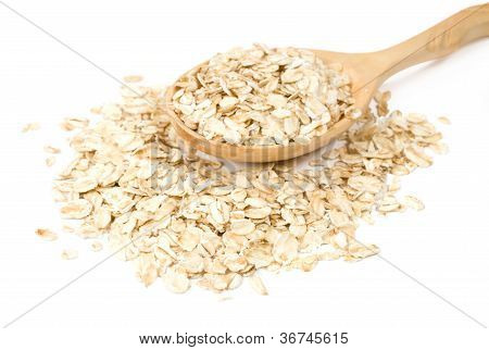 Oatmeal In A Wooden Spoon