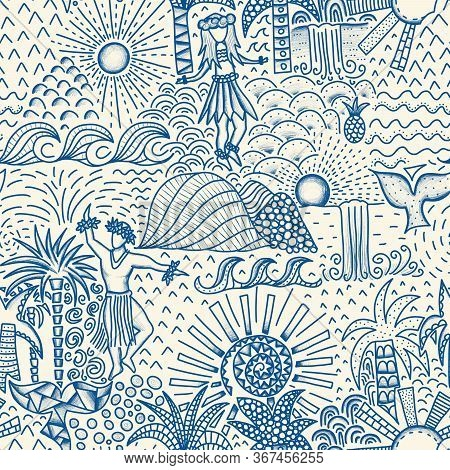 Hawaii Seamless Pattern Blue. Repeating Background With Hula Dancing Men And Women, Waves, Waterfall