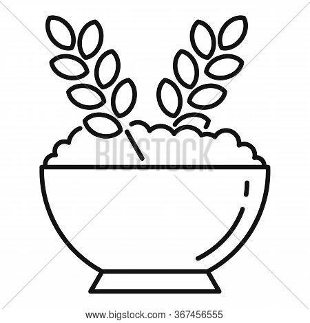 Oatmeal Porridge Icon. Outline Oatmeal Porridge Vector Icon For Web Design Isolated On White Backgro