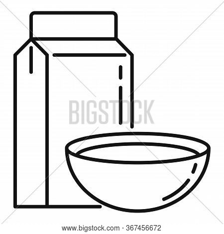 Oatmeal Cereals Icon. Outline Oatmeal Cereals Vector Icon For Web Design Isolated On White Backgroun