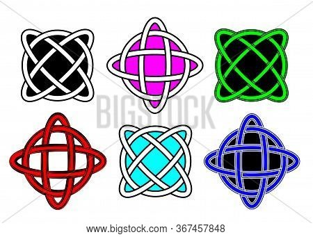 Set Celtic Knot, Interlocked Circles Logo, Colourful Fashion Design Hand Drawn Vector Tattoo Isolate