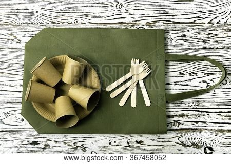 Natural Eco-friendly Disposable Tableware Fork, Plate, Cup, Bag Made From Bagasse Fiber And Bamboo O