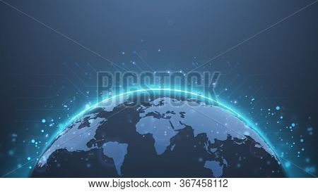 Planet Earth. World Map. Global Social Network Future. Internet And Technology. Low Poly, Wireframe