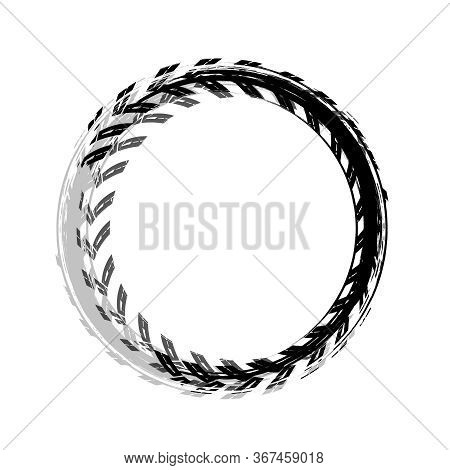 Tire Track Circle Grunge Frame. Digital Vector Illustration. Automotive Background Element Useful Fo