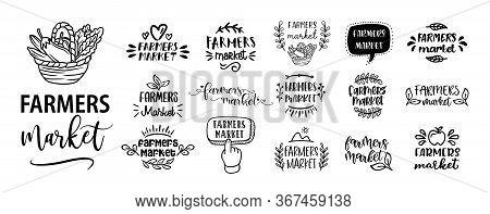 Farmers Market Set Of Hand Drawn Doodles Badges, Logo, Icon, Label. Farm Market Natural Organic Prod
