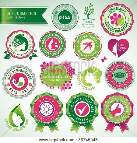 Set of cosmetics labels and badges