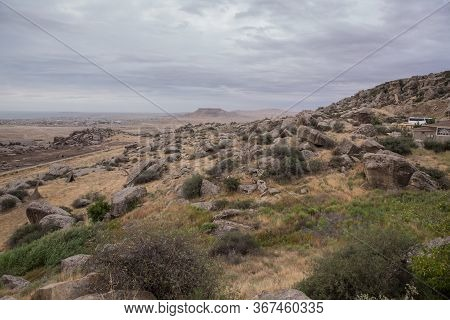 Gobustan National Park. Gobustan National Park, The Oldest Settlement In Azerbaijan, Is Protected By