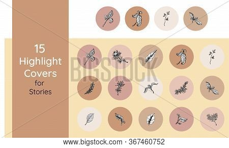 Floral Highlights Stories Covers Icons Set. Perfect For Bloggers. Set Of 15 Highlights Covers In Pin
