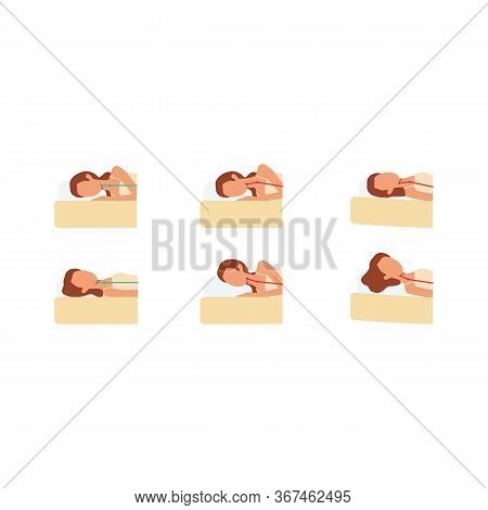 Set Of Icons, Signs And Symbols With Correct And Incorrect Poses For Sleeping Women.
