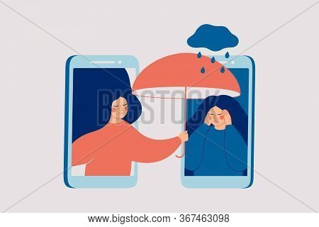 Girl Comforts Her Sad Friend Over The Phone. Woman Consoles And Cares About Girl With Psychological