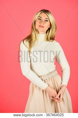 Ambitious And Beautiful. Looking So Trendy. Pretty Woman Has Blond Hair. Fashion And Beauty. Glamour