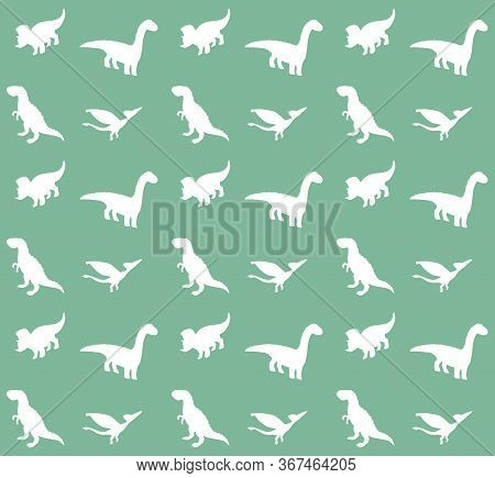 Vector Seamless Pattern Of Doodle Sketch Different White Dinosaur Silhouette Isolated On Green Backg
