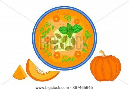 Pumpkin Soup Isolated On White Background. Traditional Autumn Thanksgiving Food. Fresh Tasty Ripe Go