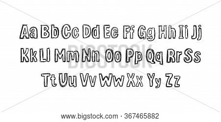 Vector Hand Drawn Font Isolated On White Background, Scribble Lines Drawing, Alphabet Set, Typeset,