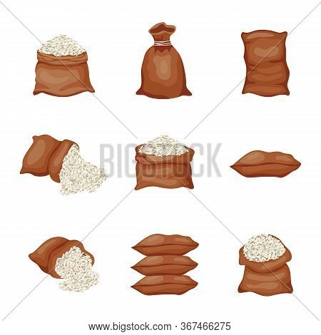 Set Of Burlap Sacks Or Large Bags With Rice Grains Vector Illustration Isolated.
