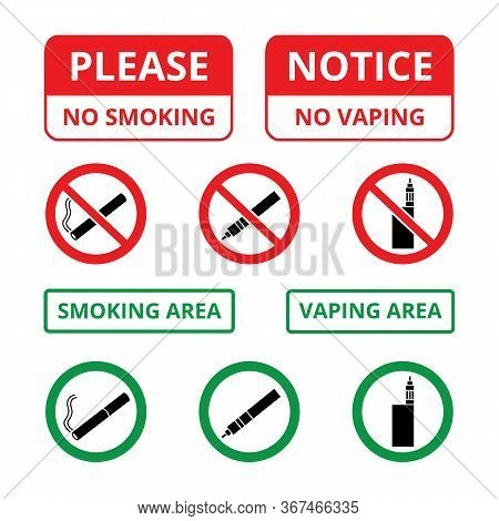 Set Of Signs And Stickers With A Cigarette And Vapes Prohibiting And Allowing Smoking And Vaping.