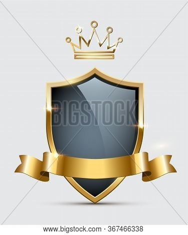 Black Shield With Empty Blank Space, Glass Crown, Shiny Glowing Golden Ribbon. Luxury, Premium, Excl