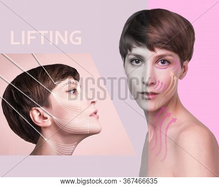 Young Female With Clean Fresh Skin. Beautiful Woman. Female Face And Neck. Portrait Of Young Caucasi