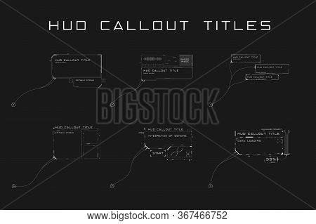 Set Of Callout Titles In Hud Style. Futuristic Sci-fi Design Elements. Editable Stroke. Good For Ani