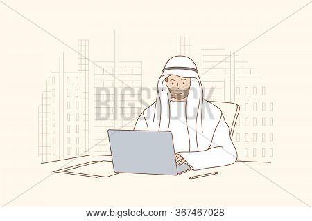 Arab Man Works In Office Concept. Smiling Happy Arabic Businessman Muslim Clerk Manager Cartoon Char