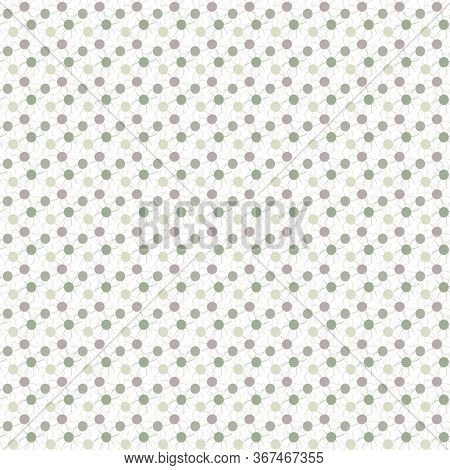 Vector Green Beige Mauve Pink Circles And Lines On White Seamless Repeat Pattern. Background For Tex