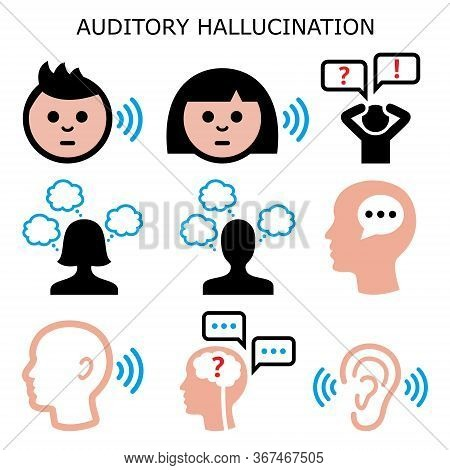 Auditory Sound Hallucination - Hearing Voices In The Head, Schizophrenia Vector Color Icons Set - Pa