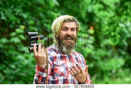 Pure Happiness. Bearded Man Look Through Binoculars. Hipster With Retro Binoculars. Explore The Envi