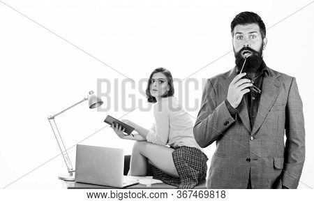 Having Crush At Work Boost Sexual Desire. Bearded Boss Stand In Front Of Sexy Girl Working Laptop. O